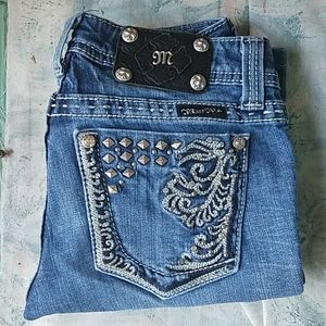 Miss Me Bootcut Blinged Out Jeans Denim
